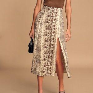 Brown Snake Print Midi Skirt with Slit
